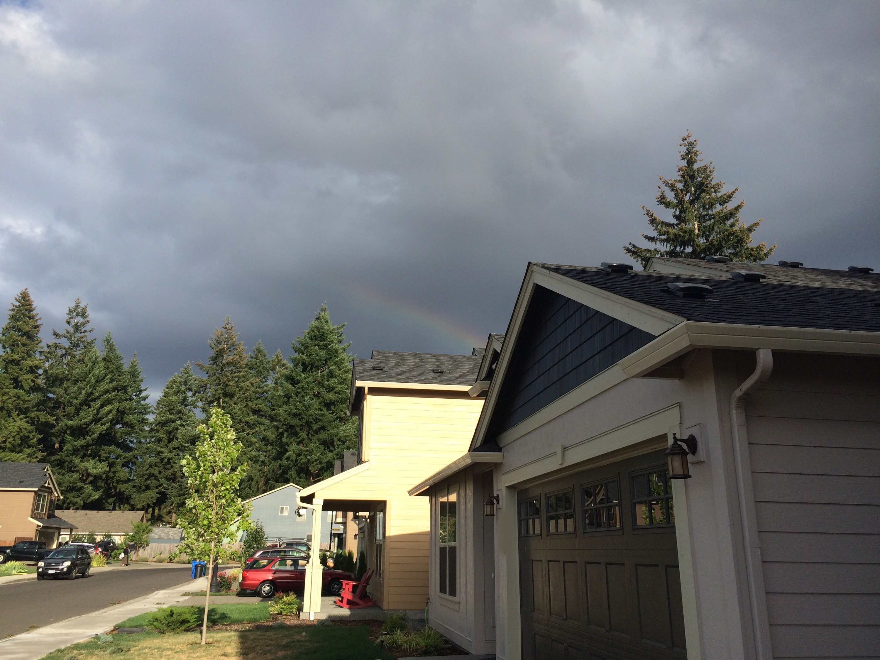 Half of a broad rainbow arc emerges from the roofline of our single-story house, above our neighbor's house, in front of a dark grey cloudy sky and the huge fir trees in our neighborhood.