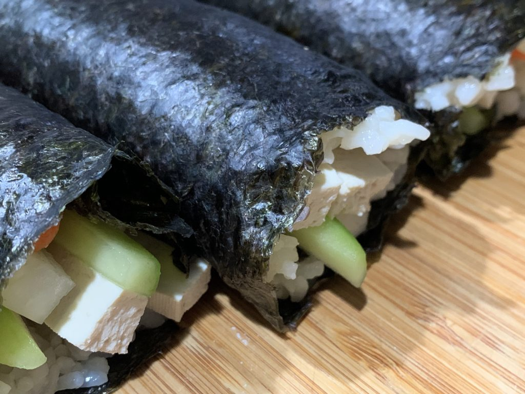 Closeup of the ends of my uncut maki rolls